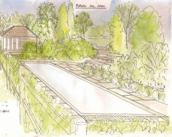 Pool area sketch